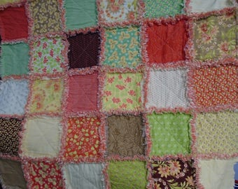 Rag Quilt,Handmade Quilt, Peach Quilt,Baby Quilt,Elderly Quilt,Lap Quilt,Quilted Throw,Quilt,Quilted Stroller Cover,Toddler Quilt,Quilt