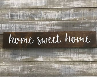 home sweet home, wood signs, signs, signs for the home, wall decor, wall hangings, rustic decor, hand painted signs, shelf decor
