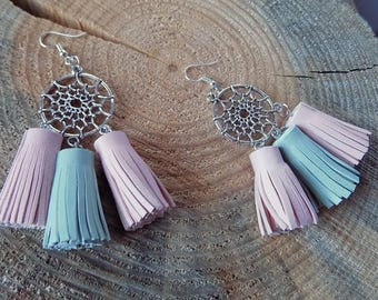 Leather earrings, tassel earrings, genuine leather earrings, leather tassel earrings, long earrings, leather jewelry