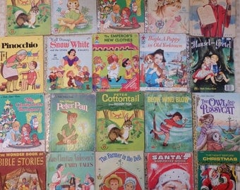Vintage Childrens Book Lot Elf Rand McNally Golden Story Book Lot of 20