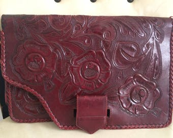 Vintage Leather Tooled Red Clutch