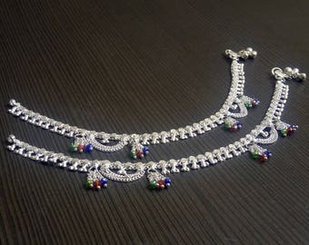 Tribal barefoot anklets | Indian payal jewelry | Banjara style silver plated anklet | Christmas gift jewelry | Fusion Indian jewelry | A214