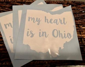 My Heart is in Ohio Car Decal