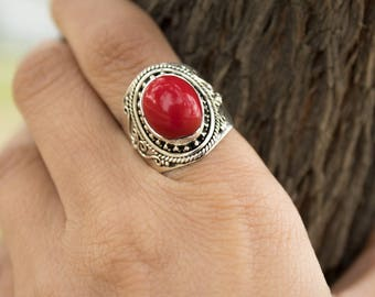 Coral Ring, Sterling Silver Red Coral Gemstone Ring, Healing Ring, Natural Coral Ring, Birthstone Ring, Coral Jewelry, Red Stone Ring