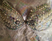 Silver and White Mermaid Rave Bra