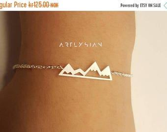 Mountains bracelet, adventure bracelet, hiking bracelet, mountain charm, silver mountain-mountain jewelry-triangle bracelet-mountain pendant
