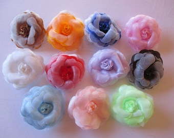 set of 12 different colors fabric flowers brooches.
