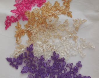 various colours floral tulle lace applique bridal lace motif is for sale . sold by per piece