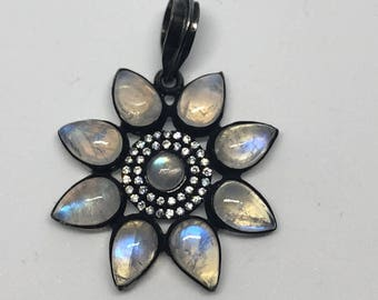 Pave white topaz moonstone sterling silver pendant