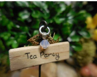 "20% Off Storewide Tea Party, Fariy Garden Sign, Miniature Wooden Signs, Fairy Garden Decorative Sign, ""Tea Party"" for Fairy Garden, Terrariu"
