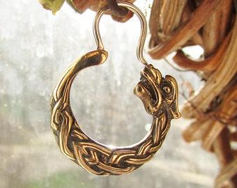 Wolf earring for men bronze