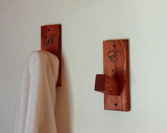 Personalized Wood Hooks, Wooden Wall Hooks, Towel Rack, Backpack Hook, Bathroom Hook, Dorm Decor, Coat Hook, Towel Hook, Rustic Wall Decor,