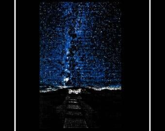 537 Beautiful Starry Night Sky Vintage Dictionary Art