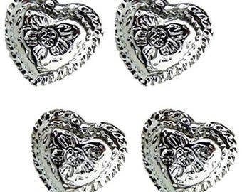 """Set of 10 Western Engraved 1/2"""" Heart Conchos Saddle tack belt"""