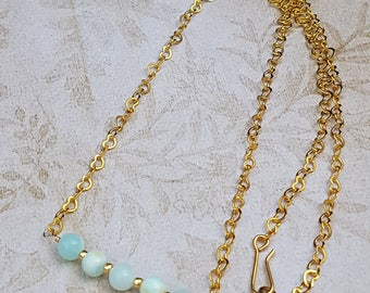 Natural Sky Blue Opal Gemstone Necklace,Delicate,Minimal,Bar,October Birthstone,Heart Chain,18 Inch Necklace.