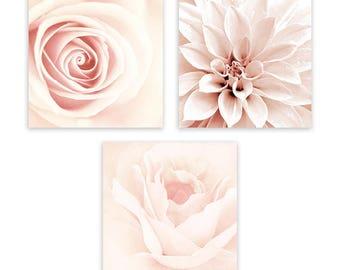 Blush Pink Wall Art, Pink Bathroom Wall Art, Blush Wall Decor, Shabby Chic Wall Art, Floral Wall Art, 3-Piece Wall Art by Galeria Rodrigo