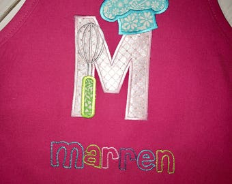 Personalized kids apron, letter M Monogram Appliqué- chefs hat and whisk