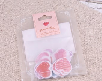 70 pc's little heart stickers, 10 designs