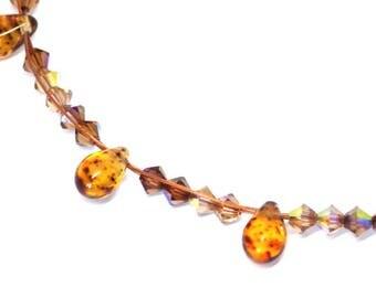 Necklace Swarovski Crystal beads Amber camel