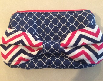 Blue and Pink Bow Clutch