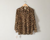 leopard print blouse   sheer balloon sleeve blouse   1980s Latrice of Bryn Mawr blouse