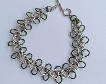 Silver bracelet, green and silver jewelry,handmade bracelet