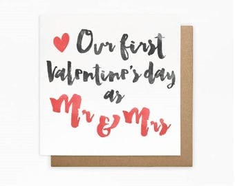 Our First Valentine's Day as Mr & Mrs Card - Fiance Valentine's Day Card - Husband Valentine's Day Card - Newly Wed Valentine's Day Card