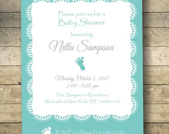 Lace Baby Shower invitation couples, boy or girl, Digital Download