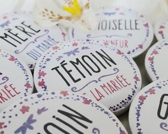 Badges mariage témoins et famille - modèle vintage, fleurs bleu, rose, violet