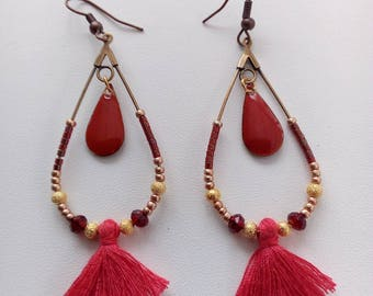 Earrings gold and bronze tone boho red made of seed beads, Crystal, metal, tassel and enamel charm