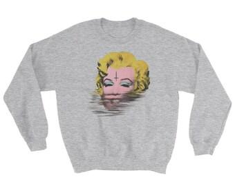 Evil Marylin Monroe glitched pop art print Sweatshirt