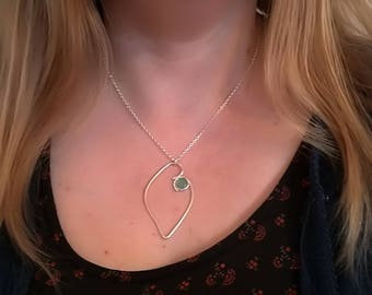 Sterling silver green aventurine heart necklace, rustic artisan Valentine gift for her