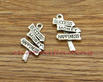 20pcs Success Charms Success Money and Happiness Charms Antique Silver 25x14mm cf3263