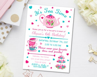 Tea Party Invitation, Birthday Tea Party Invite, Birthday Tea Invite, Garden Party Invite