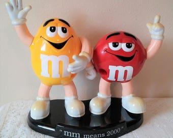 """Vintage M&M Dispenser, Vintage Candy Dispenser, Candy Dispenser,  """"mm means 2000"""" Candy Dispenser"""