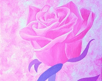 PRINT of Pink Rose Acrylic Painting, Rose Artwork, Flower Painting, Floral Decor, Rose Home Decor, Acrylic Rose Painting