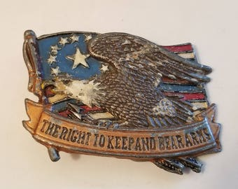 Vintage The Right To Keep And Bear Arms American Eagle RARE BELT BUCKLE