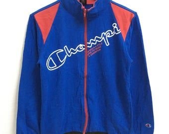 RARE!!!! Champion Big Logo SpellOut Blue Colour Zipper Sweaters Hip Hop Swag 160 (Boys) Size