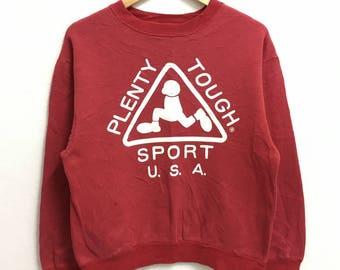 RARE!!! Plenty Tough Sport Usa Big Logo Crew Neck Red Colour Stripes Sweatshirts Hip Hop Swag M Size