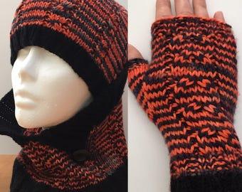 Set hat, cowl and fingerless 100% Merino hand dyed