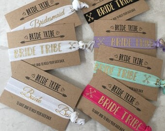 Bride Tribe hair ties / hair elastics / yoga bands / bracelets / hen party favour black or white