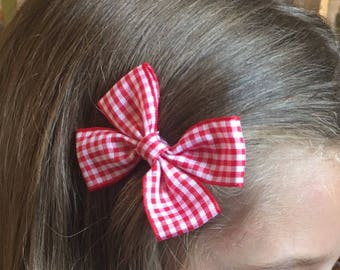 Red Gingham hair bow, children's school clips, girls school hair bow, hair accessories, Hair clip, back to school