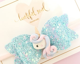 Unicorn headband bow for baby girls - glitter bow- pink and blue unicorn - one size gits all - alligator clip bow