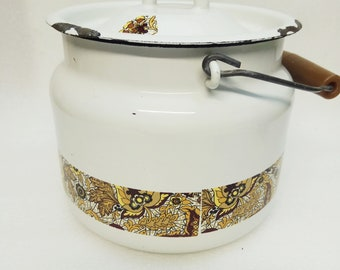 vintage Email cooking pot Soviet Union High quality Email 1970