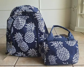 Navy Pineapple backpack and lunch bag set Back to school