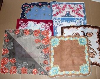 14)  Seven Vintage Hankies.  Vintage Handkerchiefs.  Floral Hankies.