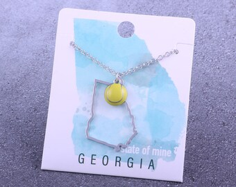 Customizable! State of Mine: Georgia Tennis Enamel Necklace - Great Tennis Gift!