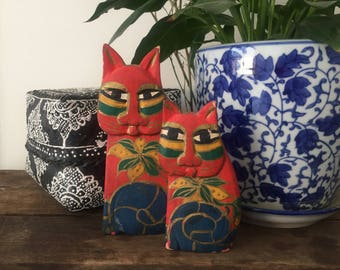 Vintage Wooden Cats