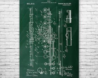 Flute Poster Patent Print Gift, Flute Patent, Flute Wall Art, Flute Player Gift, Flutist, Musician Gift, Music Teacher Gift, Patent Print