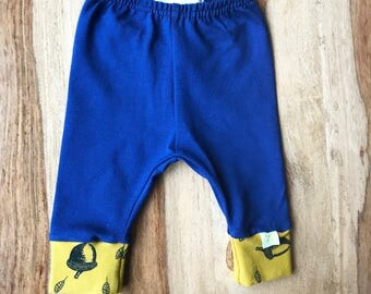 Navy Blue Baby Leggings Organic Cotton Leggings with Yellow Trim